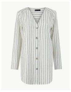 M&S Collection Striped Button Detailed Longline Tunic