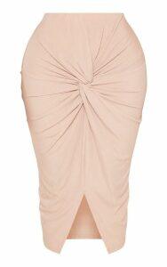 Shape Stone Knot Front Midi Skirt, White