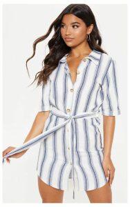 Blue Woven Stripe Button Through Shirt Dress, Blue