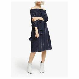 AND/OR Mariella Off Shoulder Stripe Dress, Navy