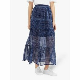 French Connection Anthemis Folk Skirt, Indigo Multi