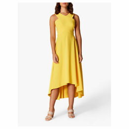 Karen Millen Drop Hem Midi Dress, Yellow