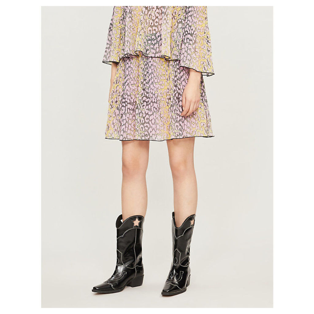 Leopard-print pleated georgette skirt