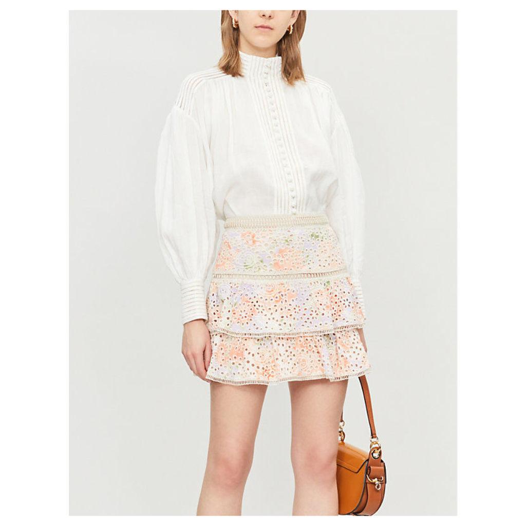 Kirsten embroidered eyelet modal skirt
