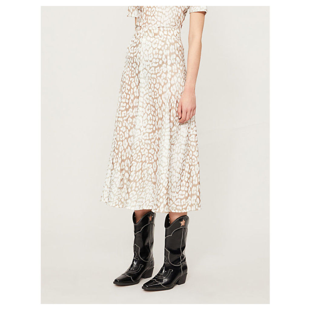 Leopard-print crepe midi skirt