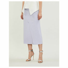 Abrams checked wool-blend skirt