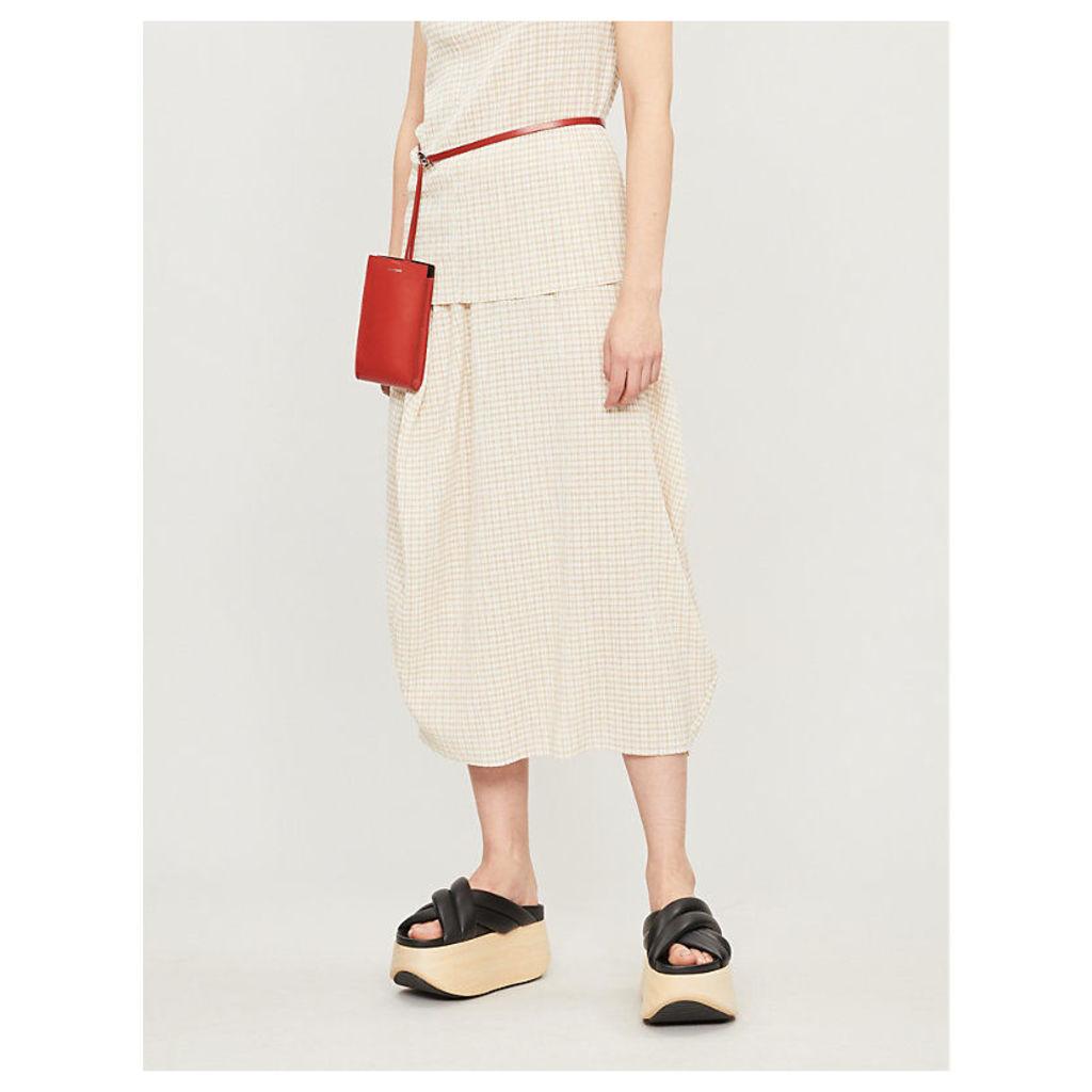 Checked woven skirt