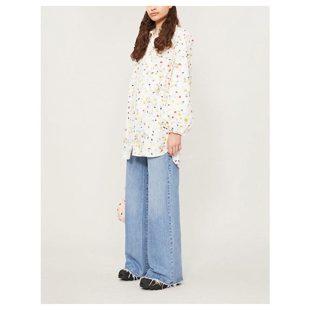 Floral-print cotton-poplin wrap shirt