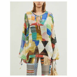 Patchwork-panel silk blouse