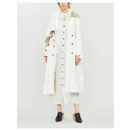 Distressed floral-print linen-blend trench coat