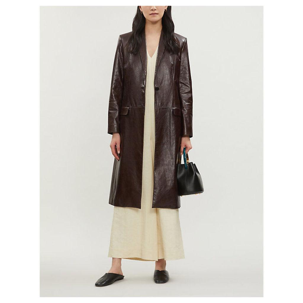 Varnished single-breasted leather coat