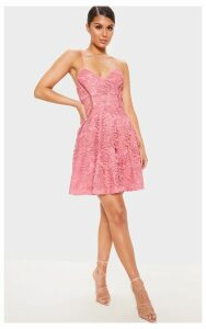Rose Strappy Lace Cami Skater Dress, Pink