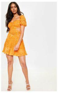 Orange Lace Puff Sleeve Cut Out Skater Dress, Orange
