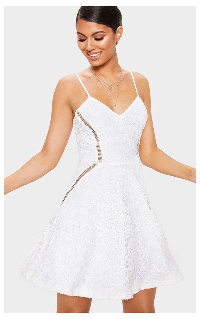 White Strappy Lace Cami Skater Dress, White