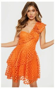 Bright Orange Lace One Shoulder Tiered Skater Dress, Bright Orange