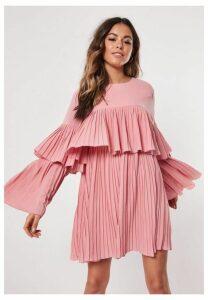 Blush Pleated Layered Smock Dress, Blush