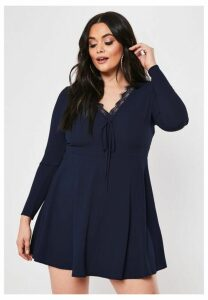 Plus Size Navy Lace Trim Tea Dress, Navy