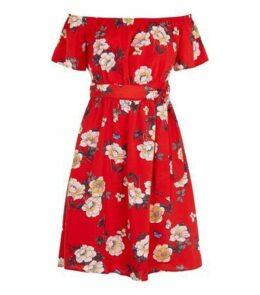 Mela Red Floral Bardot Mini Dress New Look