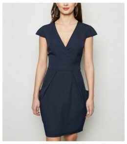 Blue Vanilla Navy Wrap Front Tulip Dress New Look