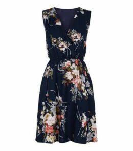 Mela Blue Floral Wrap Mini Dress New Look