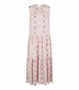 Pink Snake Print Tiered Midi Smock Dress New Look