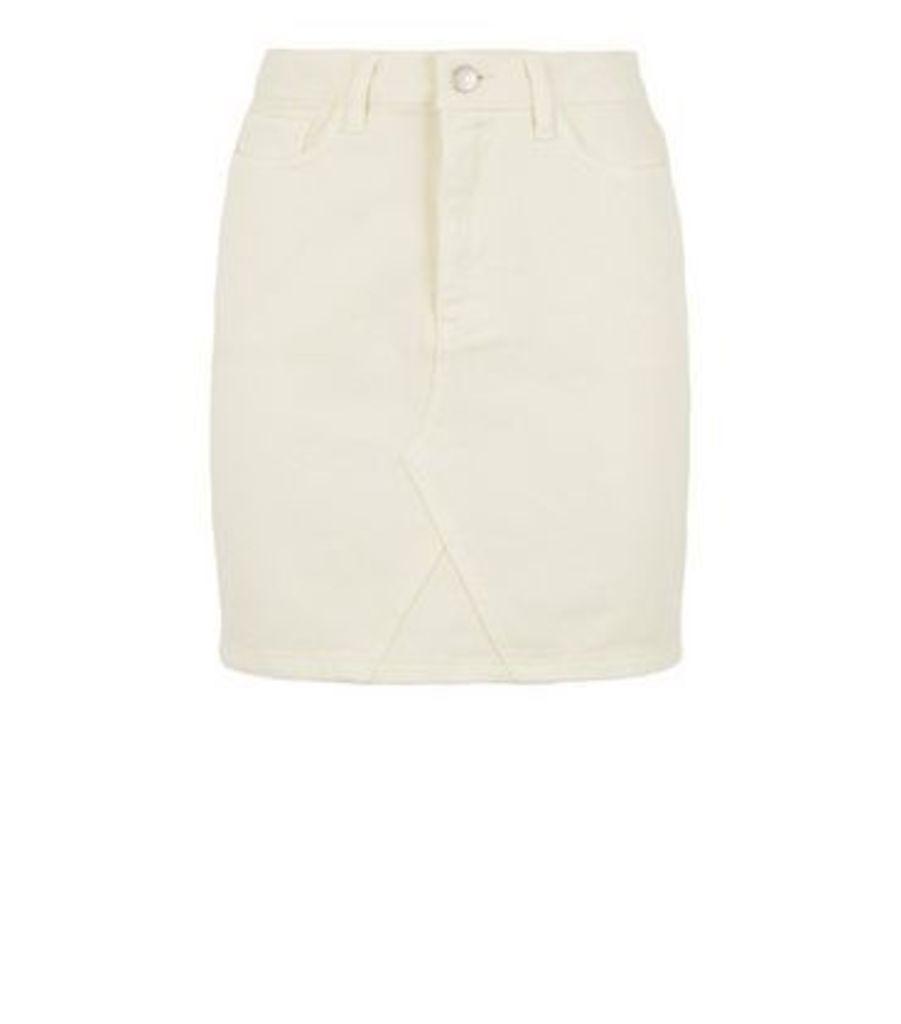 Off White Denim Mom Skirt New Look