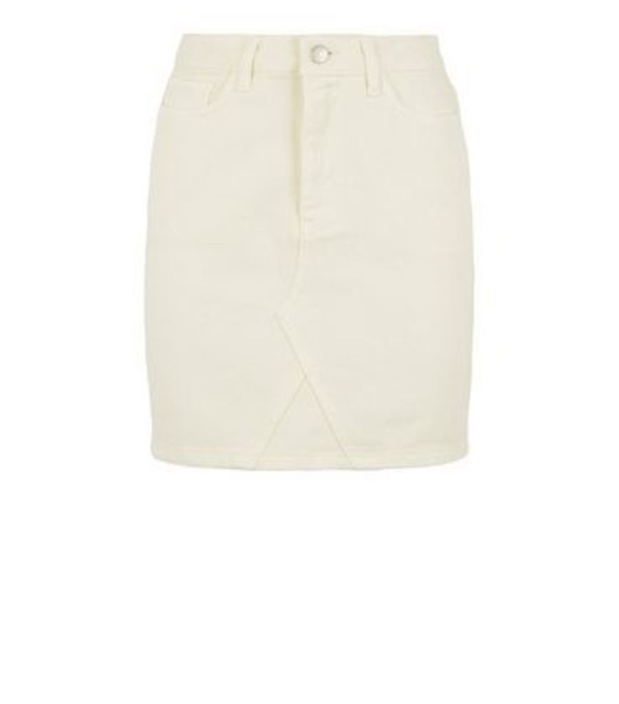 Off White Denim Mom Skirt New Look