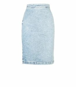 Pale Blue Acid Wash Denim Pencil Skirt New Look