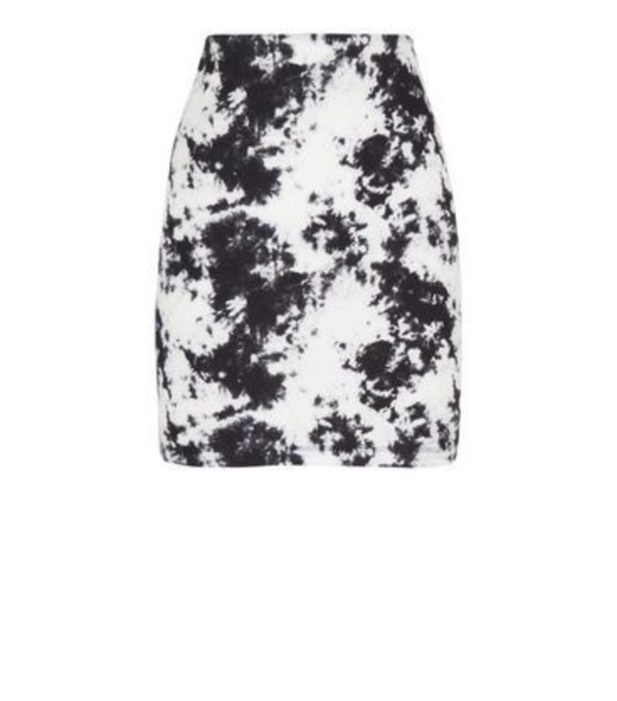Black Tie Dye Tube Skirt New Look