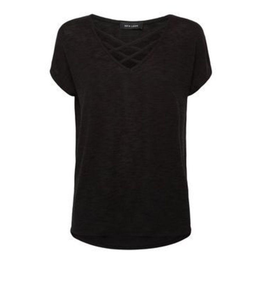 Black Fine Knit Lattice Front Oversized Top New Look