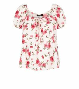 Cream Floral Tie Front Milkmaid Top New Look
