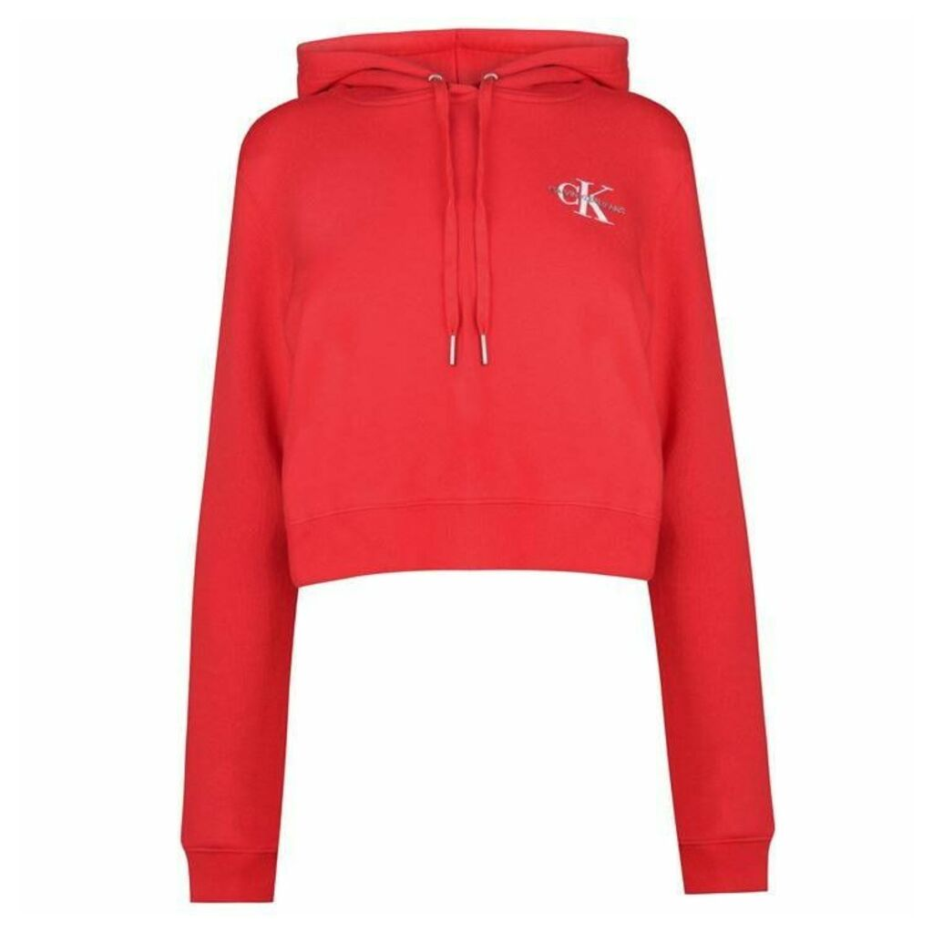 Calvin Klein Jeans Monogram Cropped Hoodie Womens