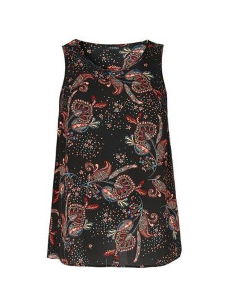 Black Paisley Print Vest, Dark Multi