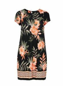 Black Floral Border Print Swing Dress, Dark Multi