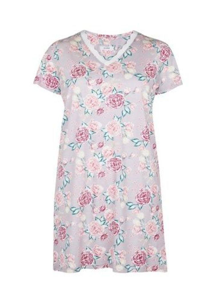 Rose Floral Print Short Nightdress, Pastel Multi