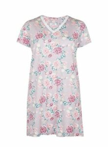 Rose Floral Print Short Nightdress, Pastel Multi