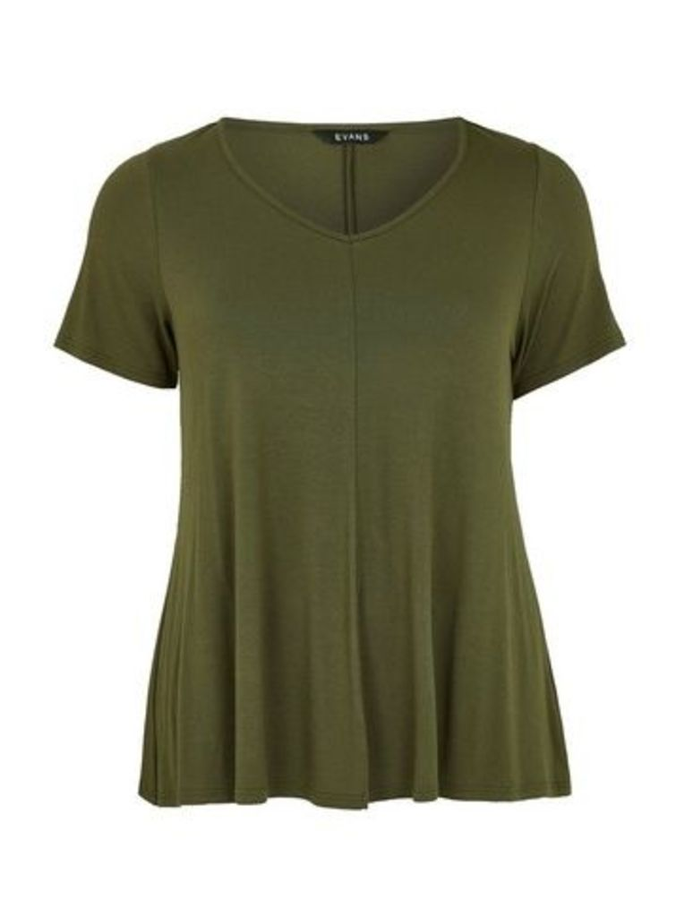 Green V-Neck T-Shirt, Khaki