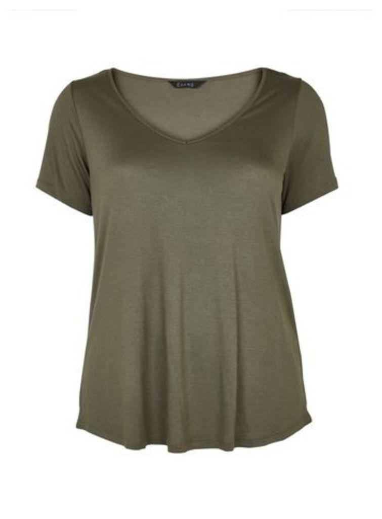 Khaki V-Neck T-Shirt, Khaki