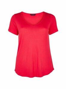 Pink V-Neck T-Shirt, Pink