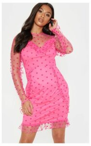 Petite Fuchsia Dobby Mesh Frill Detail Long Sleeve Dress, Pink