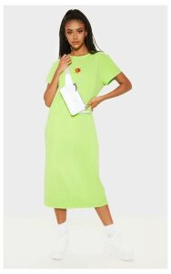 Lime Sun Embroidered Oversized T Shirt Midi Dress, Green