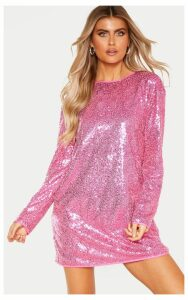 Tall Bright Pink Sequin Long Sleeve Shift Dress, Bright Pink