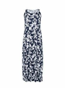 Navy Floral Print Maxi Dress, Navy/White