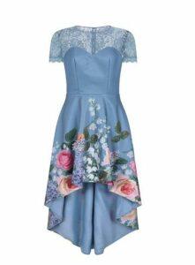 **Chi Chi London Blue Floral Dip Hem Dress, Mid Blue