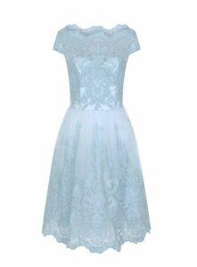 **Chi Chi London Blue Embroidered Midi Dress, Light Blue