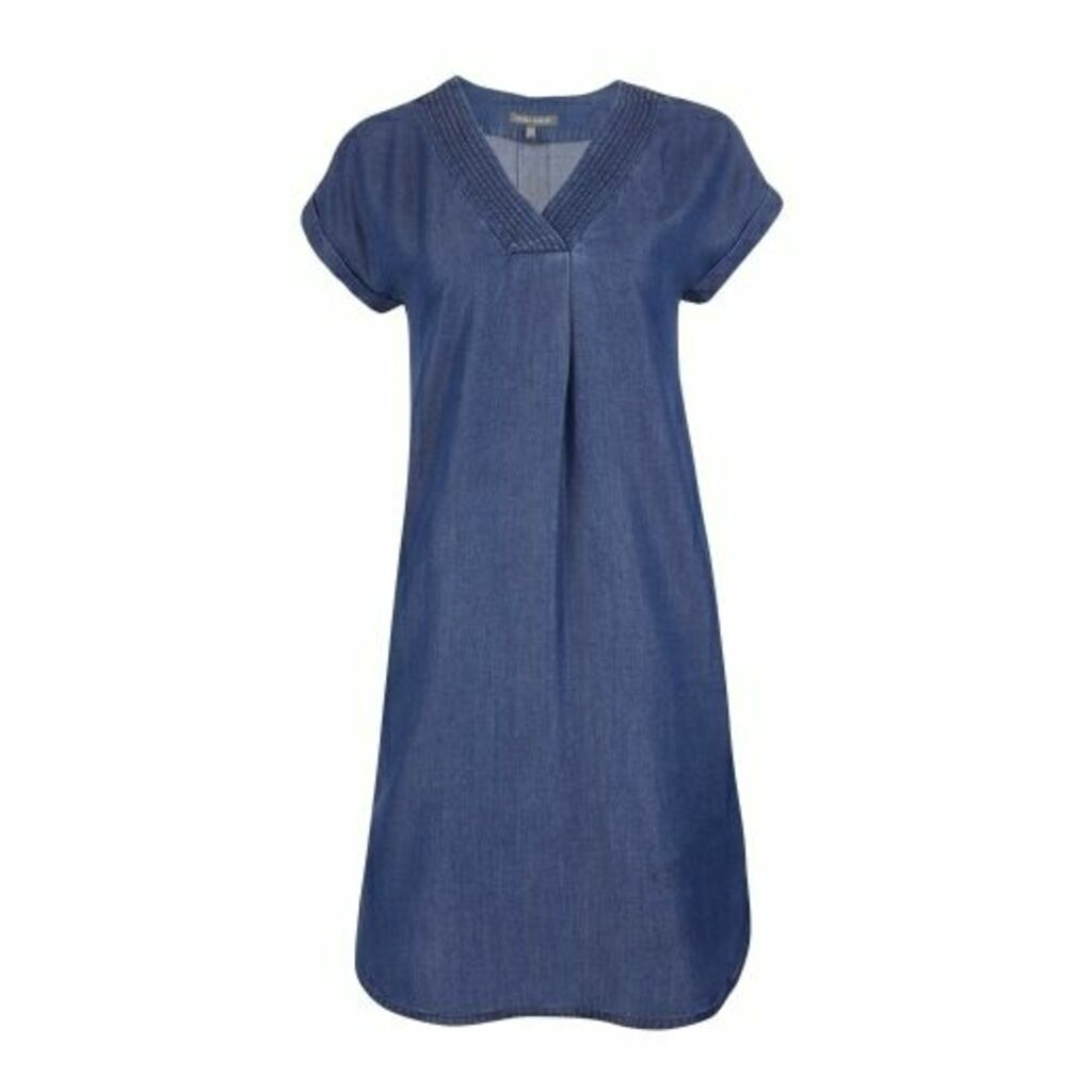 Indigo Cap Sleeve Tencel Tunic Dress