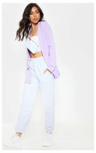 Lilac Oversized Button Detail Woven Blazer, Purple