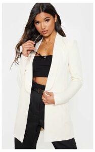 Cream Detail Oversized Woven Blazer, White