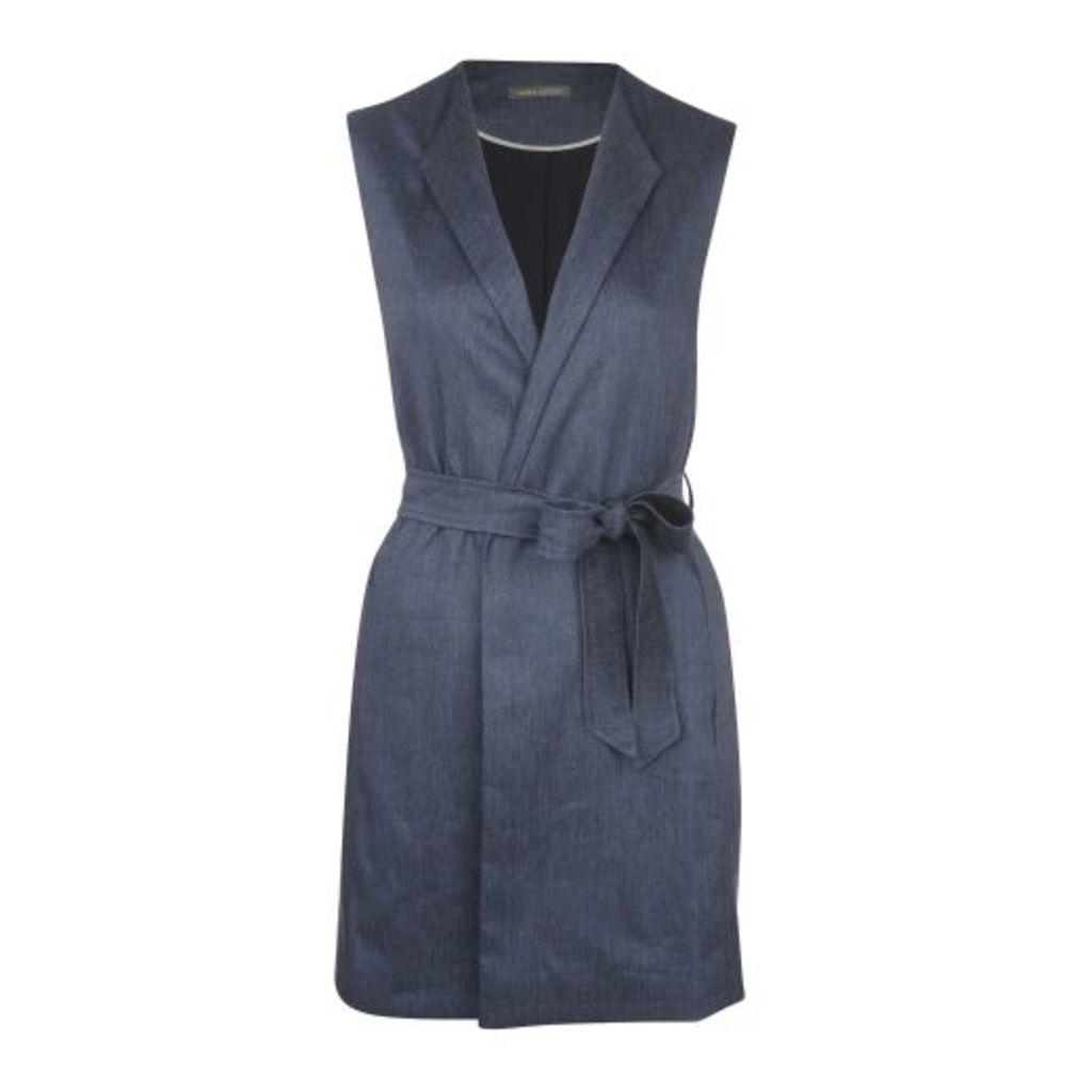 Sleeveless Tie Waist Coat