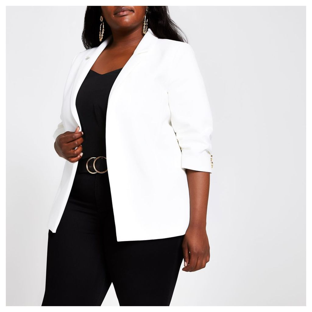 Womens Plus White ruched sleeve blazer